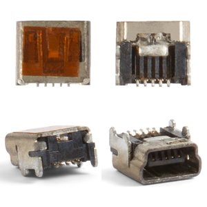 Charge Connector for Blackberry 8100, 8110, 8120, 8130, 8300, 8310, 8320, 8330, 8700 Cell Phones, (5 pin, mini-USB type-B)